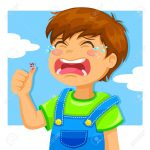 14226209-little-boy-crying-because-of-a-cut-on-his-thumb-Stock-Vector-cartoon