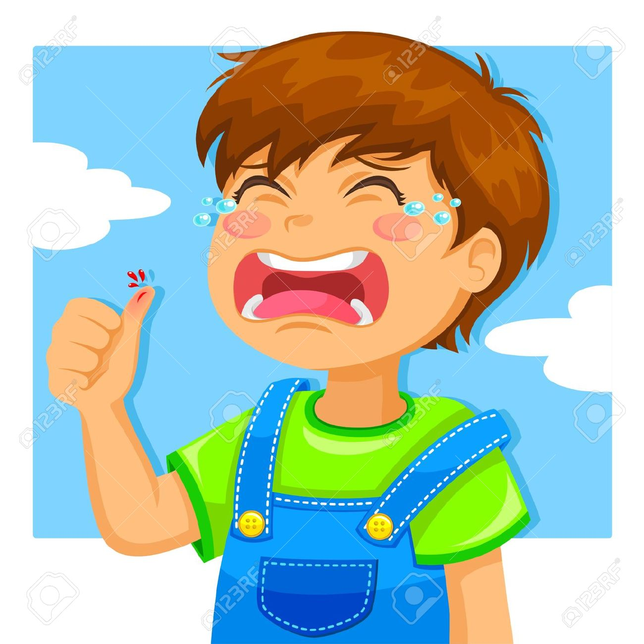 14226209 little boy crying because of a cut on his thumb stock